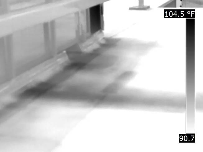 Thermal image of roof leak
